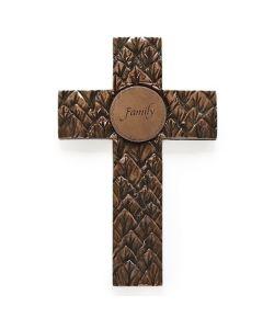 "5.5""H Bronze Leaf Cross"