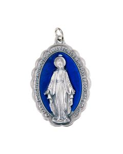 "2-1/4"" Blue Enameled Miraculous Medal"