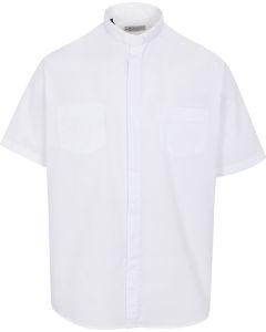 Short Sleeve White Tab Shirt 35% cotton 65% poly