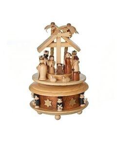 "Mus 7"" Wood Nativity Rotating"