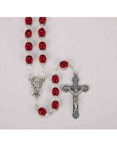 7mm Red Ladybug Metal Rosary with Center and Cross