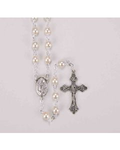 5mm Capped White Imitation Pearl Glass Bead Rosary