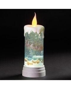 "10.5"" Lit Swirl Candle W Santa"
