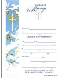 Marriage Certificate W/Lines (25 Pkg)