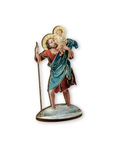 St Christopher cut wood Statue