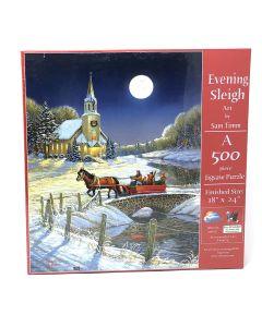 "Evening Sleigh 500 piece puzzle, 18"" x 24"", Artwork by Sam Timm"