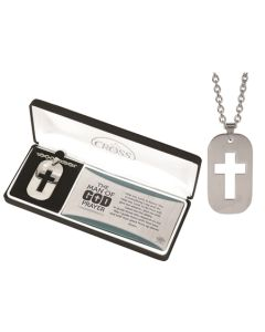 Dog Tag Cut out Cross Necklace