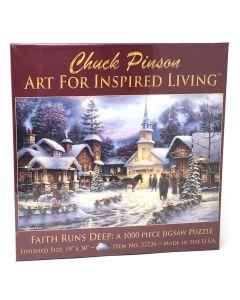 """Faith Runs Deep 1,000 pieces, 19"""" x 30"""" inches, Art by Chuck Pinson"""