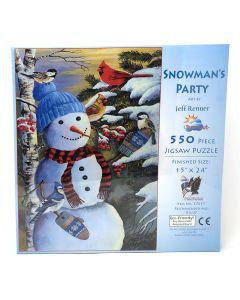 "Snowman Party 550 pc puzzle - 15"" x 24"" - Artist: Jeff Renner"