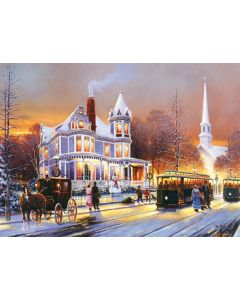"""Winter in the City 500+ piece puzzle, 19.25"""" x 26.62"""", artwork by Keith Brown"""