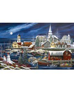 """Winter Harbor 1000 piece puzzle, 19"""" x 30"""", Art by Debbi Wetzel"""