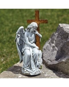 """13""""H Angel With Cross On Stone"""