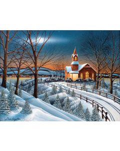 "Winter Evening Service 300 pc puzzle - 18"" x 24"" - Artist: Don Engler"