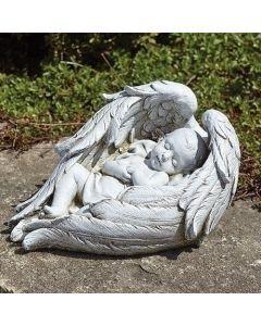 """6""""H Baby Sleeping In Wings"""