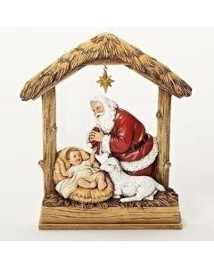 "8""Kneeling Santa with Baby Jesus"