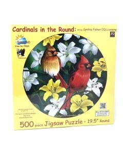 "Cardinal in Round 500 pc puzzle - 19.5"" round - Artist: Cynthie Fisher"
