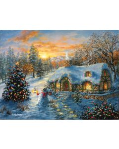 Christmas Cottage 500 Puzzle 18x24 inches, Art by Nicky Boehme