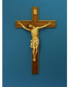 Crucifix, Hand-Painted Alabaster Corpus, Wood Cros