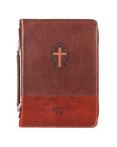 Classic Bible Cover LG Brown Cross John 3