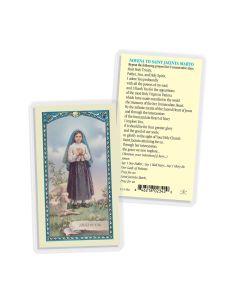 St Jacinta Marto Prayer Card