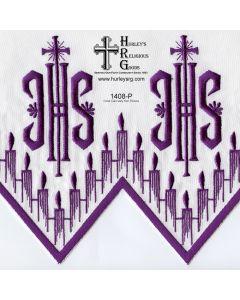 "Fabric With Silk Emroidery Edge - 58"" Wide -Purple (Yard)"