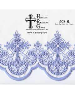 "Fabric With Silk Emroidery Edge - 58"" Wide - Blue (Yard)"