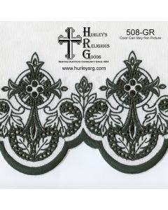 "Fabric With Silk Emroidery Edge - 58"" Wide - Green (Yard)"