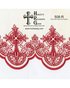 """Fabric With Silk Emroidery Edge - 58"""" Wide - Red (Yard)"""