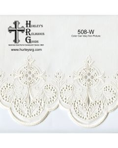 """Fabric With Silk Emroidery Edge - 58"""" Wide - White (Yard)"""