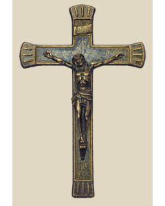 """Crucifix in antiqued brass, 7.5"""""""