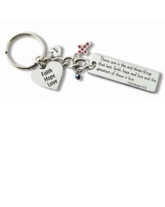 Bf Faith Hope Love Key Ring W/ Charms Individually