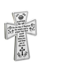 5 In Baptism Standing Cross W/ Wire Easel Gift Box