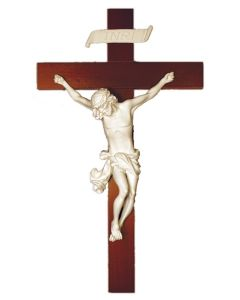 Baroque Crucifix With A White Alabaster And Resin