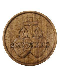 Solid Oak Sacred Hearts Plaque