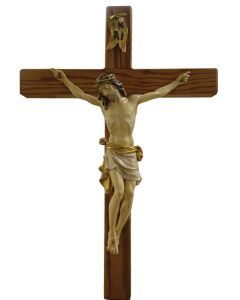 """Wood Carved 13"""" corpus processional cross"""