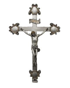 """Crucifix, pewter style finish, 16"""""""