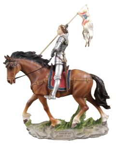 St. Joan of Arc on horse, hand-painted full color,