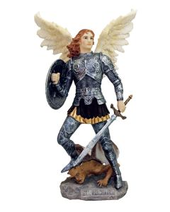 """Archangel Michael, Full Hand-Painted Color, 9"""""""