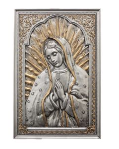 Guadalupe Plq,stand/hang, imitation,pewter , 6x9""