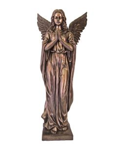 Praying Angel Statue In Lightly Hand-Painted Cold